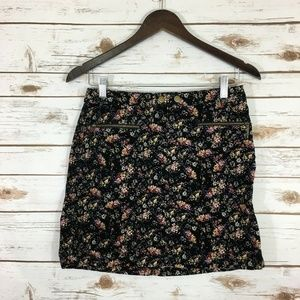 Mossimo Velvet Corduroy Zippered Floral Skirt